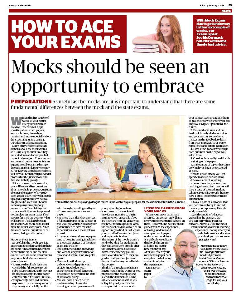Mock Examination Article - The Meath Chronicle 290119 - Ace